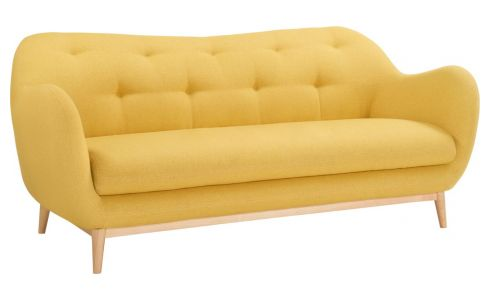3-seat sofa made of fabric, yellow