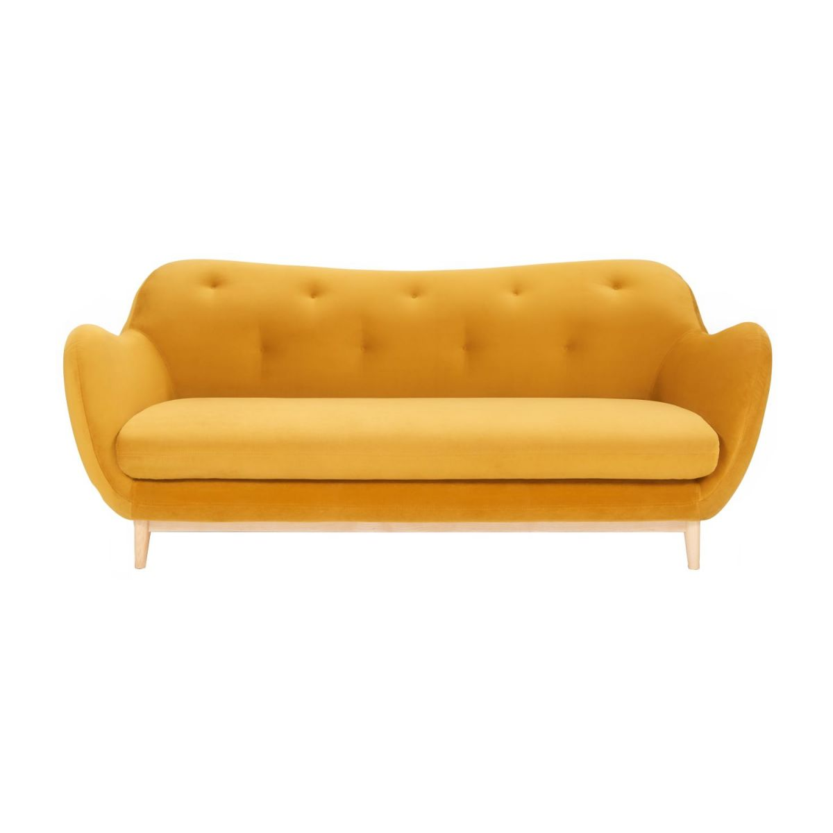 3-seat sofa made of velvet, mustard n°3