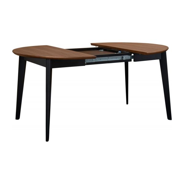Moder black walnut wood table habitat for Table ronde design extensible
