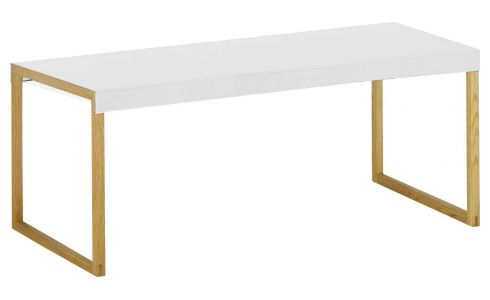 low table made of metal and solid oak