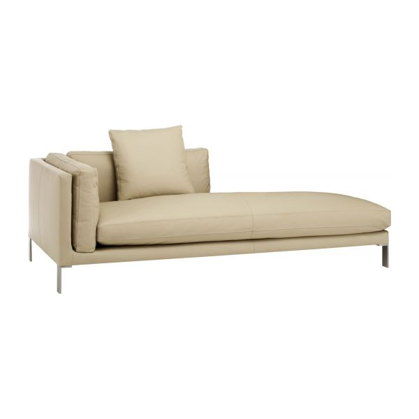 Recamiere modern  Beige Leather Sofa. Divani Casa Forge Modern Beige Leather Sofa ...
