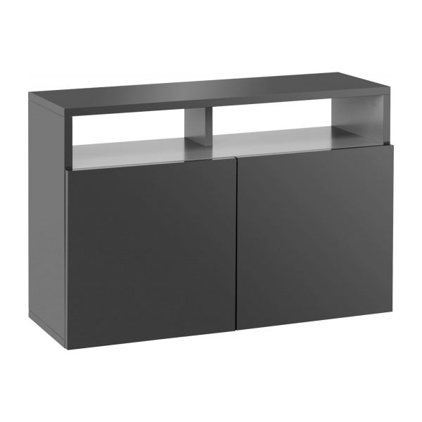 kubrik buffets gris souris bois laqu habitat. Black Bedroom Furniture Sets. Home Design Ideas