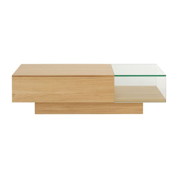 Akira tables basses naturel verre bois habitat - Table basse chene verre ...