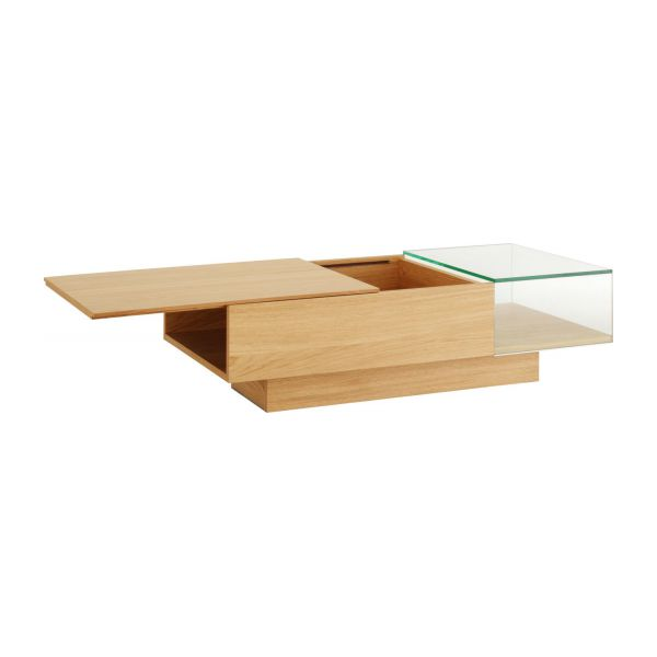 Akira Coffee Tables Natural Glass Wood Habitat