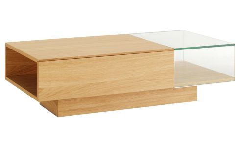 Low glass and oak table