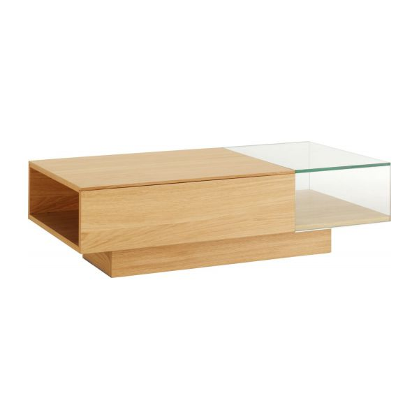 Akira tables basses naturel verre bois habitat - Table basse en chene ...