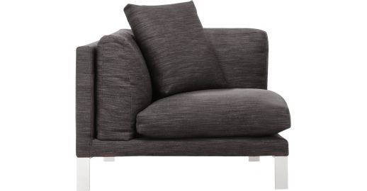 Newman canap s chauffeuse d 39 angle anthracite tissu habitat - Chauffeuse d angle convertible ...