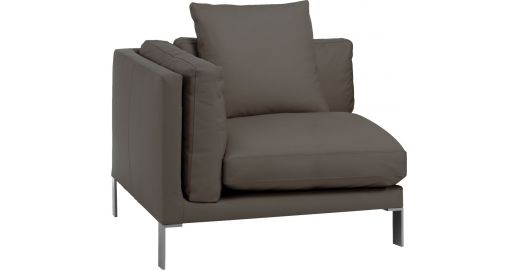 Newman canap s chauffeuse d 39 angle gris cuir habitat - Chauffeuse d angle convertible ...