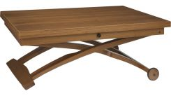 Table basse en noyer relevable et extensible