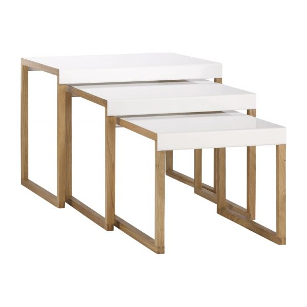 Kilo tables d 39 appoint blanc bois m tal habitat for Table gigogne bois