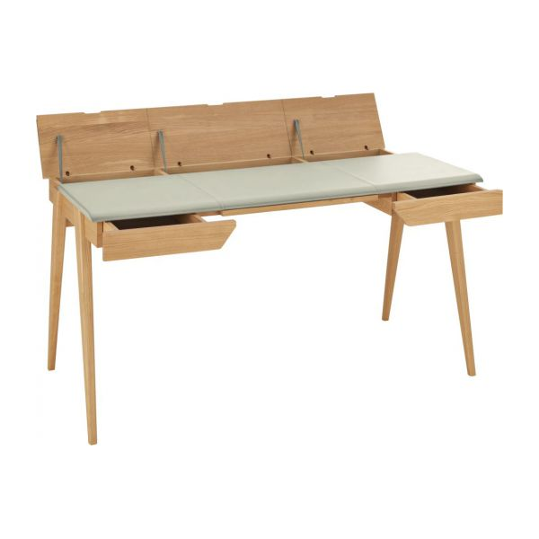 Beckett grand bureau en ch ne et en cuir habitat for Grand bureau meuble