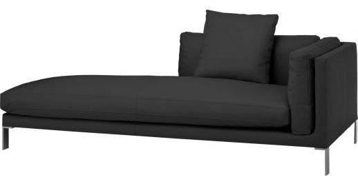 black amalfi leather lounge chaise