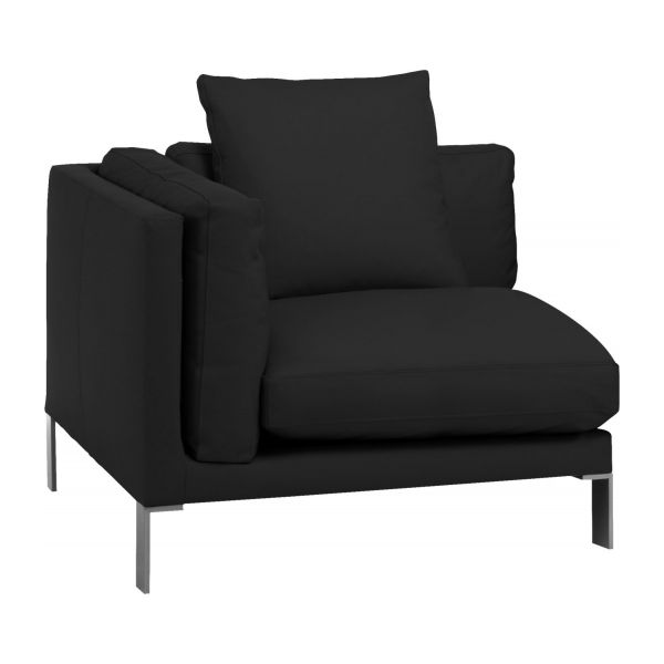 newman canap s chauffeuse d 39 angle noir cuir habitat. Black Bedroom Furniture Sets. Home Design Ideas