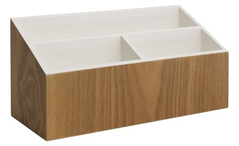 Wood and white office organizer