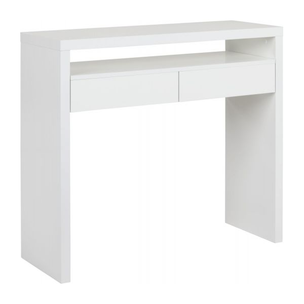 Atwood console tables white wood habitat for Meuble coiffeuse fly