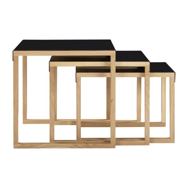 Stackable accent tables made of metal and solid oak n°5