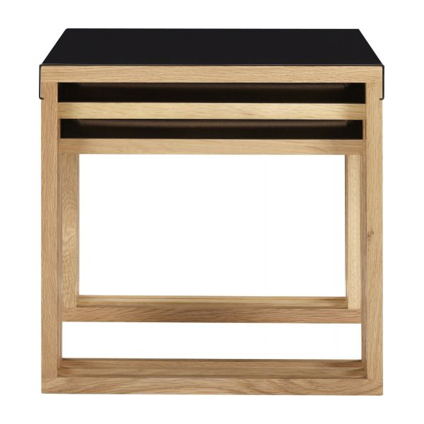 Stackable accent tables made of metal and solid oak n°4