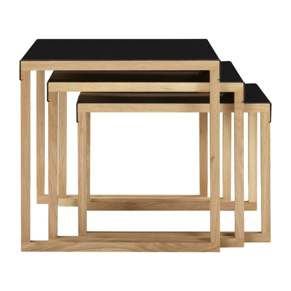 Stackable accent tables made of metal and solid oak n°3