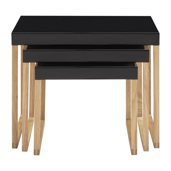Stackable accent tables made of metal and solid oak n°2