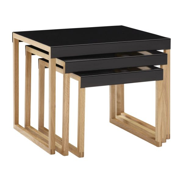Stackable accent tables made of metal and solid oak n°1