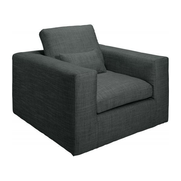 cyrus fauteuils fauteuil gris fonc tissu habitat. Black Bedroom Furniture Sets. Home Design Ideas