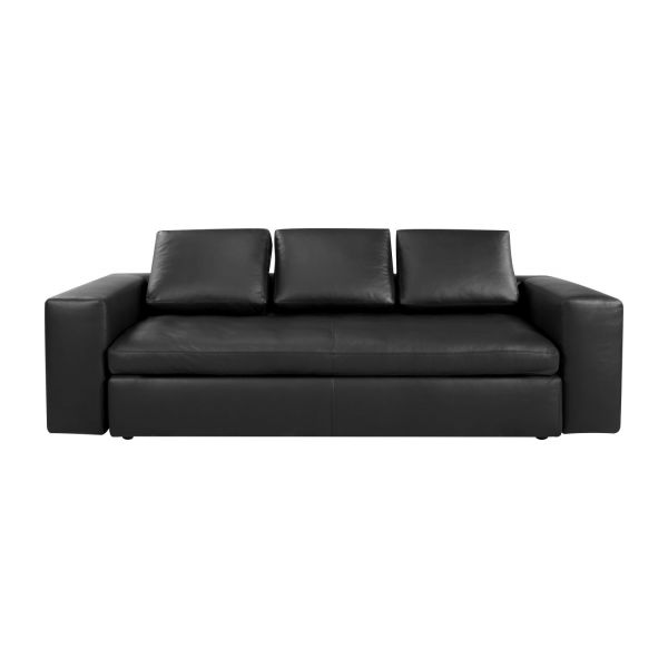 Cyrus canap s canap 3 places convertible noir cuir habitat for Canape lit cuir 3 places