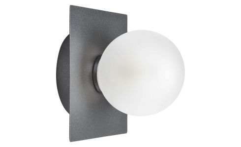 Wall light with 1 glass globe on plate
