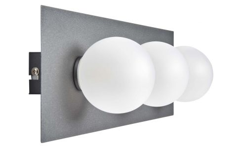 Wall light with 3 glass globes on plate