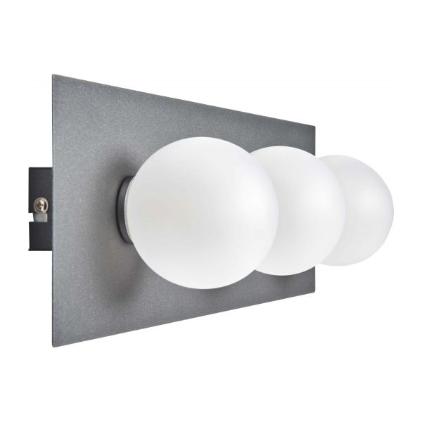 clement wall light with 3 glass globes on plate habitat. Black Bedroom Furniture Sets. Home Design Ideas