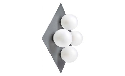 Wall light with 4 glass globes on plate