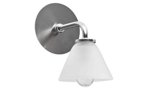 Wall light with 1 glass globe on nickel plate