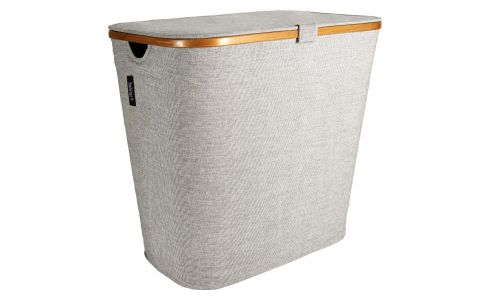 Large laundry basket, grey fabric and bamboo