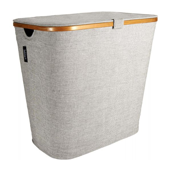 Large Laundry Basket, Grey Fabric And Bamboo N°1