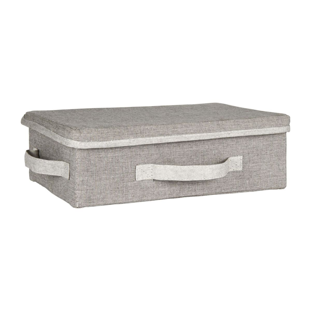 Small Storage basket, grey fabric and bamboo n°1