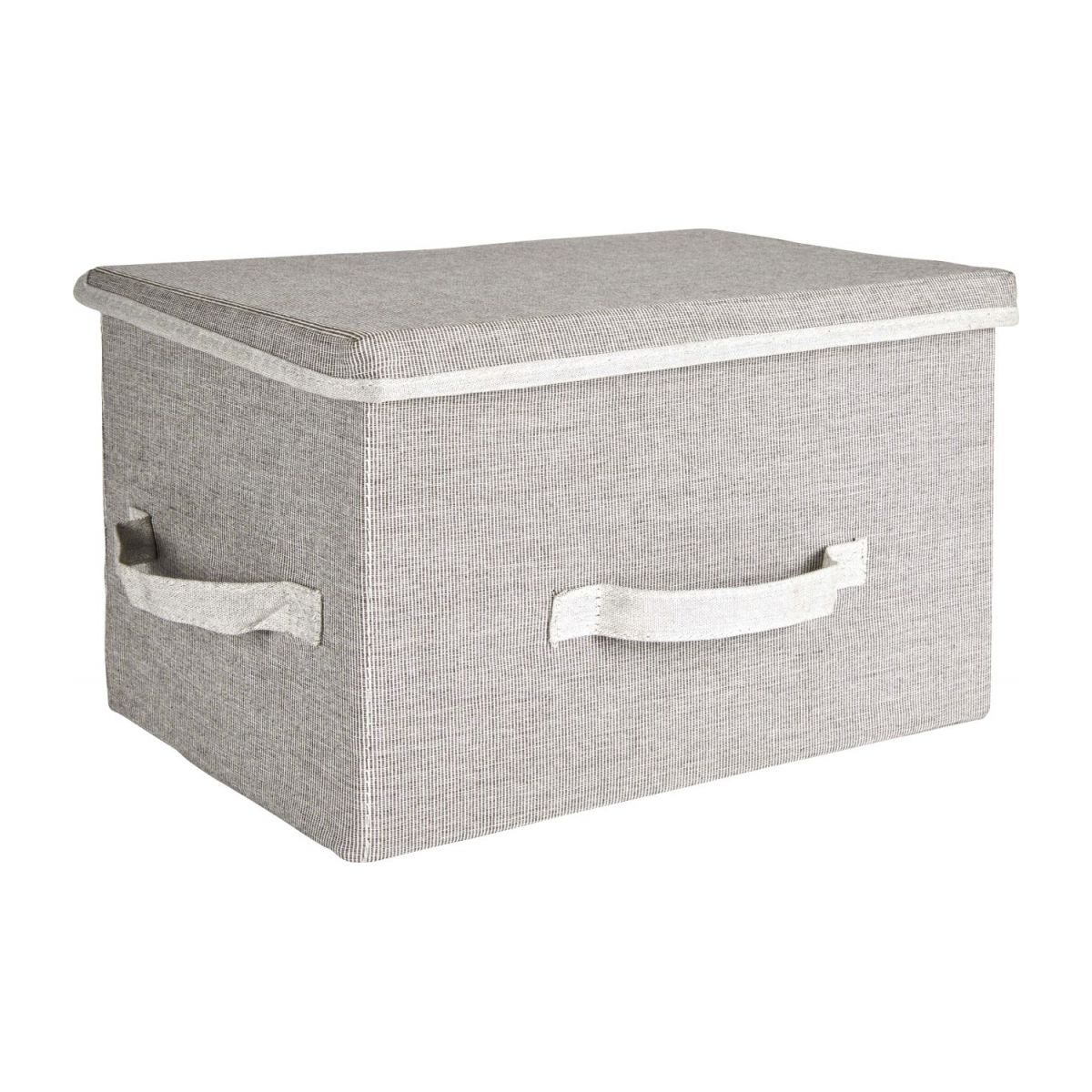 Large Storage basket, grey fabric and bamboo n°1