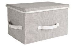 Large Storage basket, grey fabric and bamboo