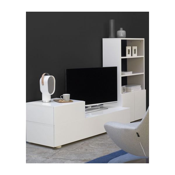 aspen meubles audio vid o blanc bois laqu m lamine habitat. Black Bedroom Furniture Sets. Home Design Ideas