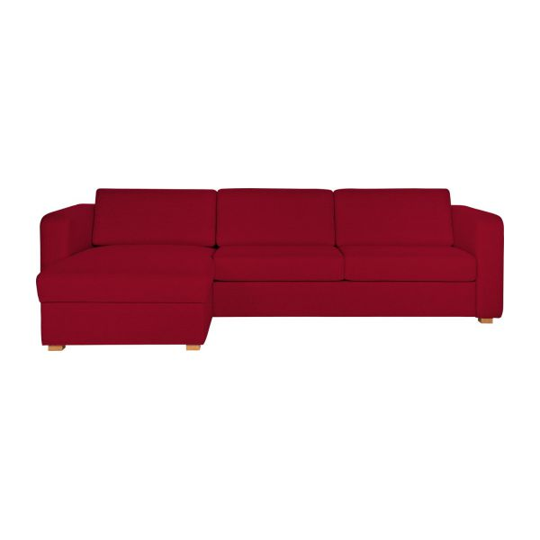 Porto canap s canap d 39 angle convertible rouge tissu habitat for Petit canape rouge