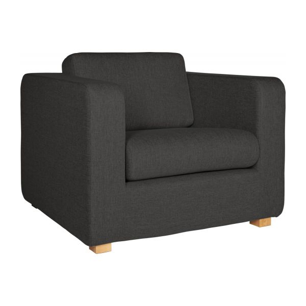 porto fauteuils fauteuil gris anthracite tissu habitat. Black Bedroom Furniture Sets. Home Design Ideas