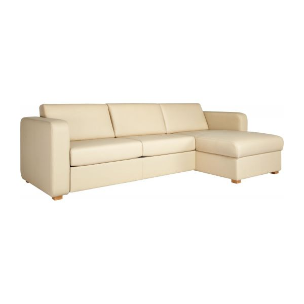 Porto canap s canap d 39 angle convertible cr me cuir habitat for Petit canape angle cuir