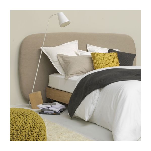 meringue t te de lit gris clair tissu habitat. Black Bedroom Furniture Sets. Home Design Ideas