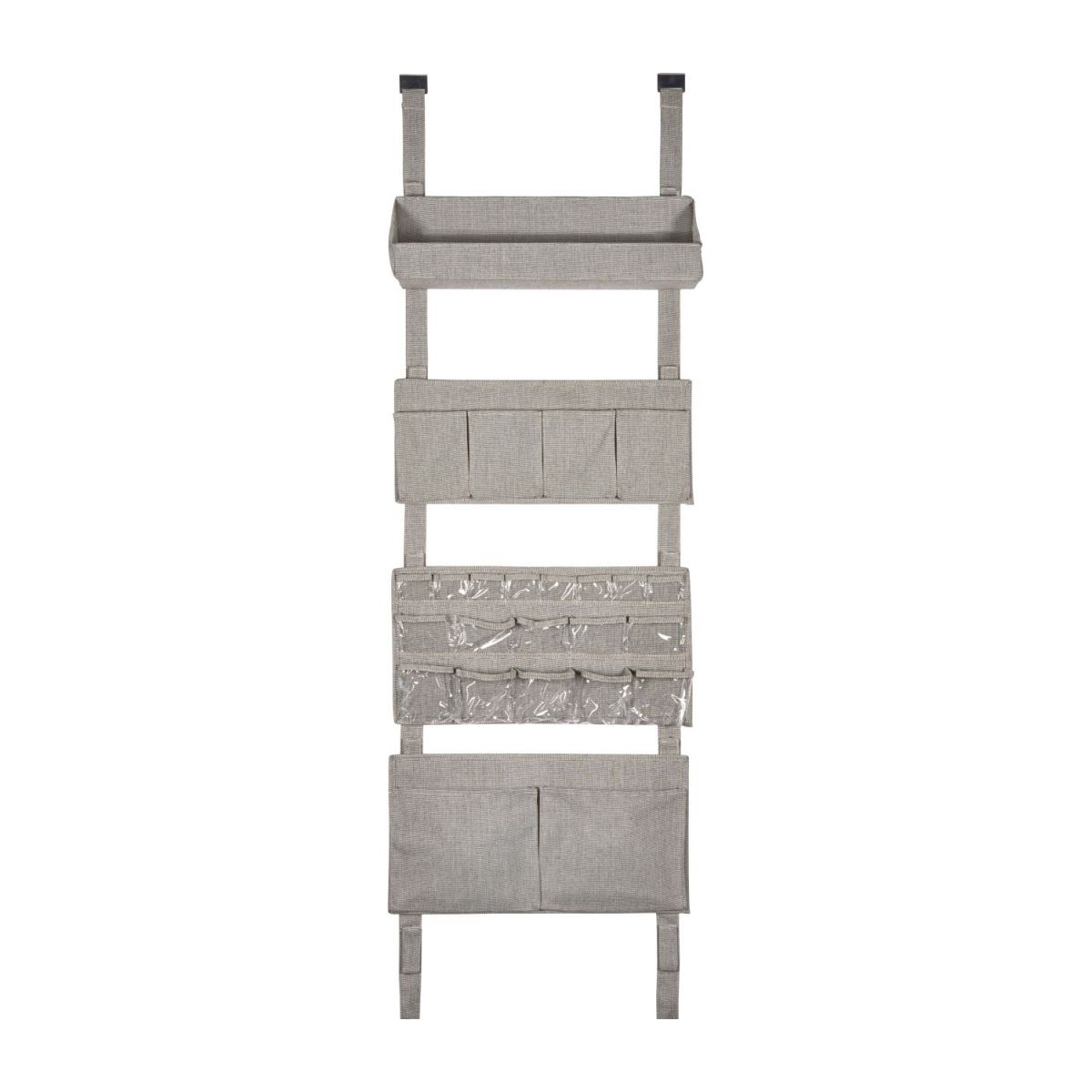 Wall modular storage with pockets, grey fabric and bamboo n°1
