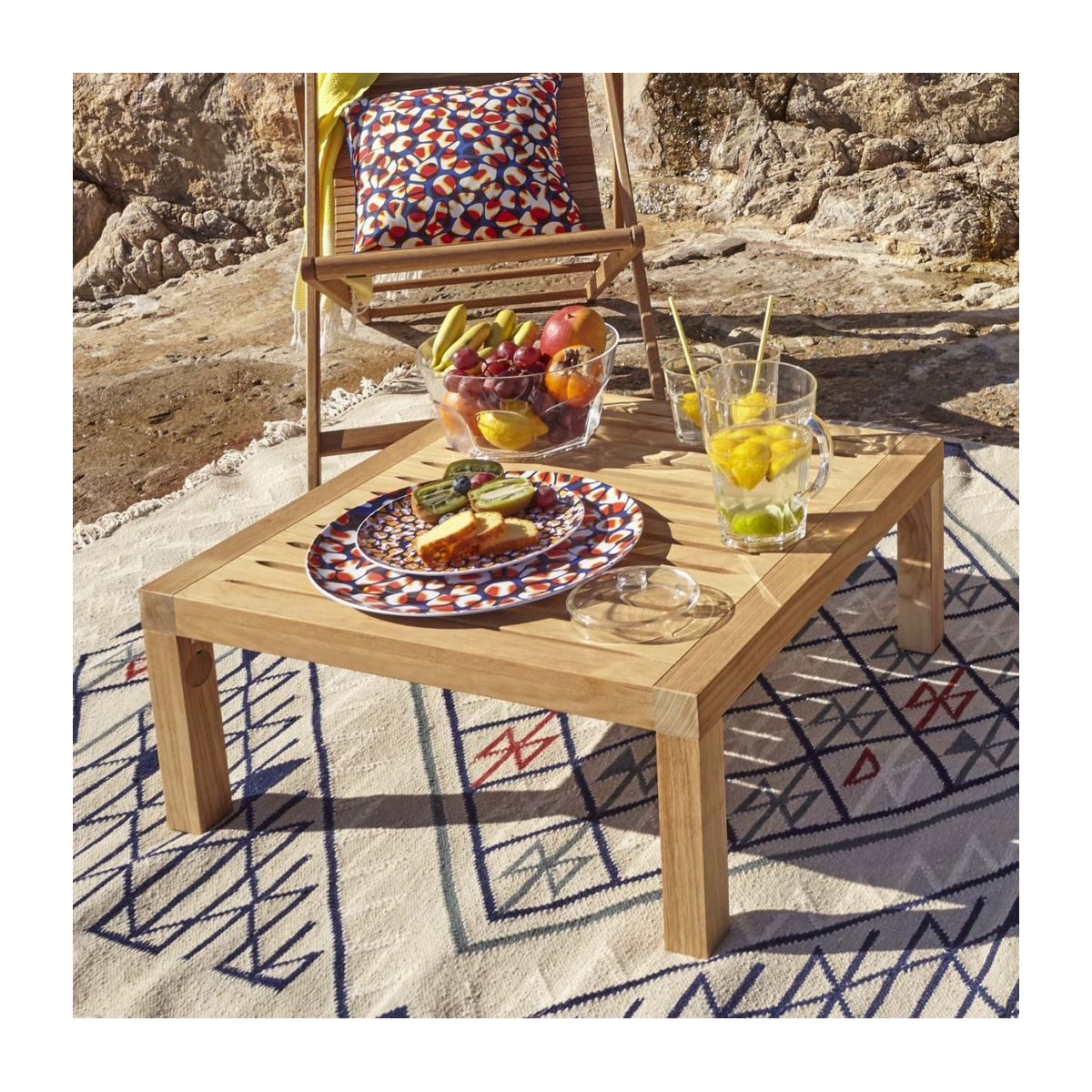 Table basse de jardin en teck -Naturel - 70 x 70 cm n°6