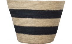 JUTE/ JUTE ROUND STRIPED BASKE