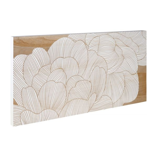 Camelia d coration murale en bois motif fleur habitat for Decoration murale bois