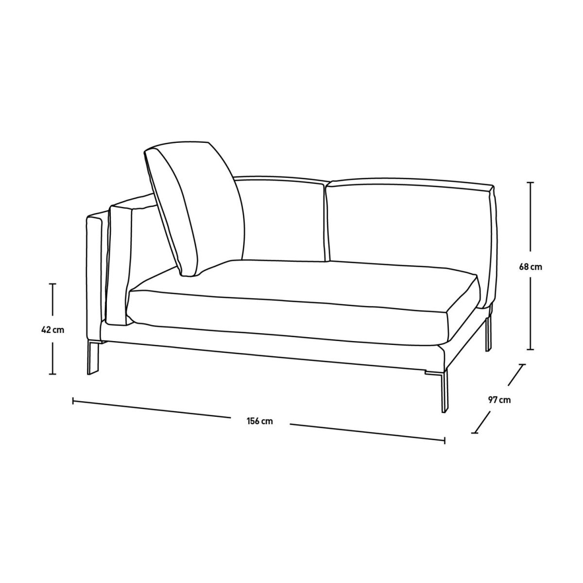 Leather left-arm 2 seater sofa n°6