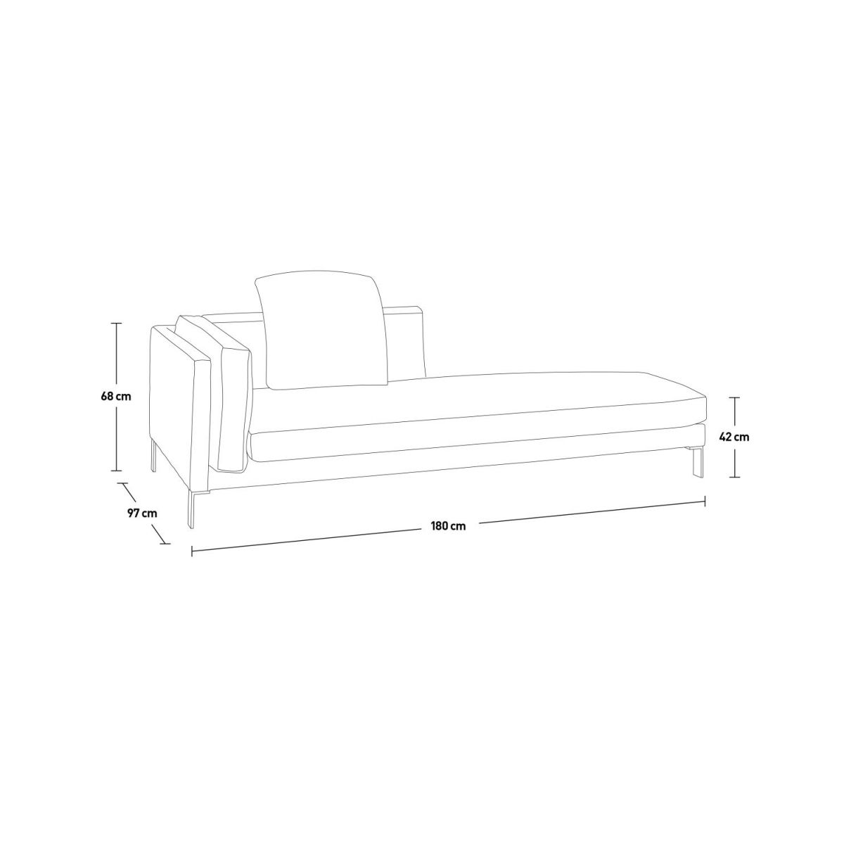 Leather left-arm chaise longue n°9