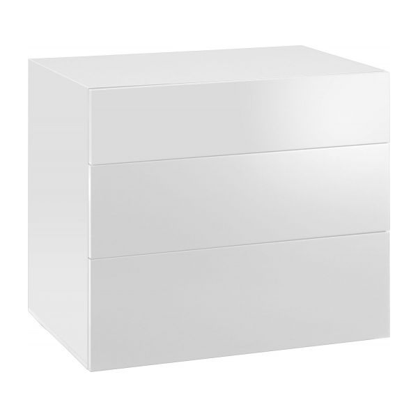 Commode 3 tiroirs blanche laquée