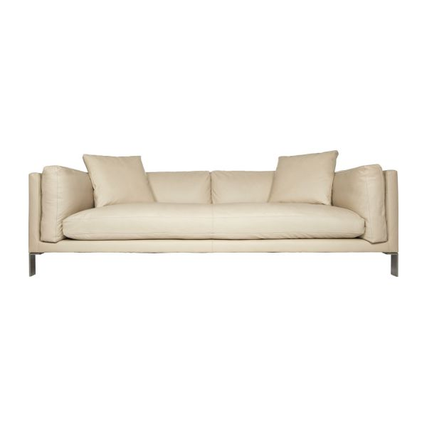 Newman sofas 3 seat sofa beige leather habitat - Canape 3 places beige ...