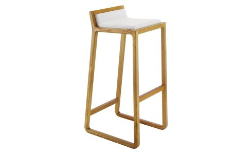 solid oak and leather bar stool